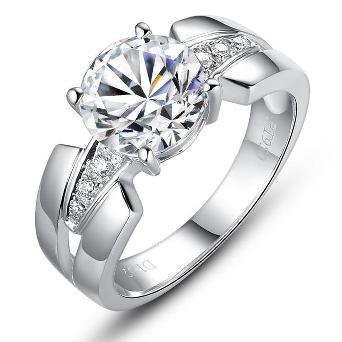 Argent pur 1.5 Carat argent haut carbone bras large mariage S925 bagues de mode bijoux pour femmes (JSA)