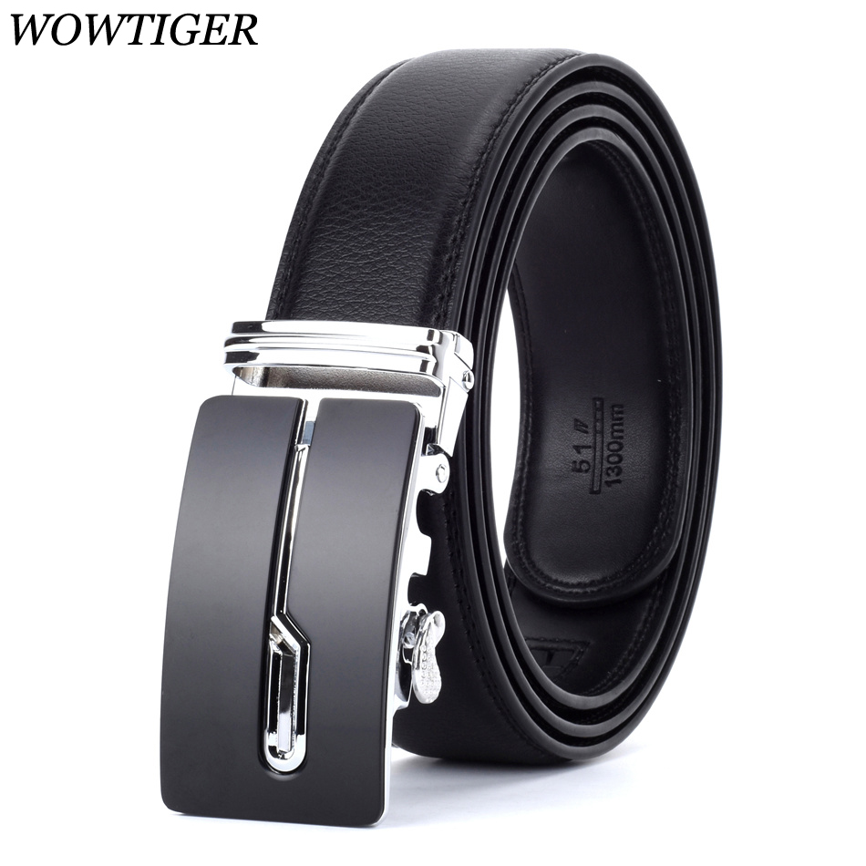 WOWTIGER Designers Men Automatic Buckle Leather luxury Belt Male Alloy buckle Belts for Men Ceinture Homme