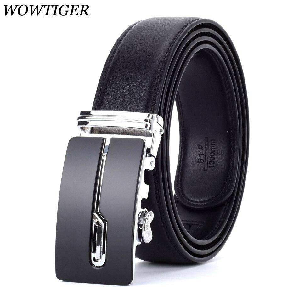 WOWTIGER Designers Men Automatic Buckle Leather luxury Belt Male Alloy buckle Belts for Men Ceinture Homme