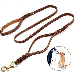 Image 1 - Trançado trela do cão de couro real dupla alça pet andando treinamento leva longa corda curta para pastor alemão médio grandes cães