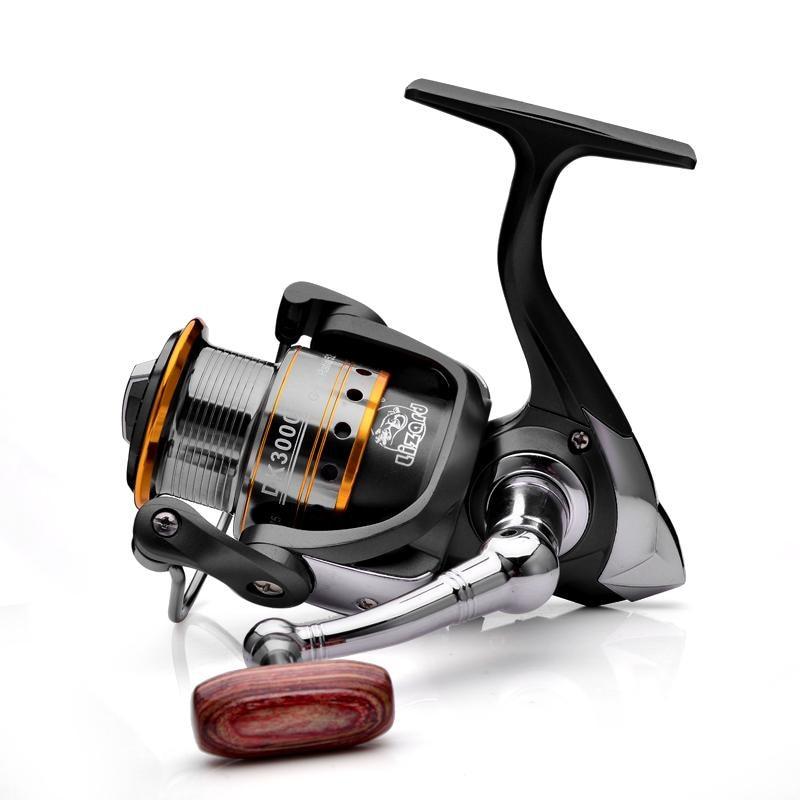 KKWEZVA Métal Peu Profonde tasse 1000/2000/3000 Spinning Reel Fishing 5.2: 1 Salut-Vitesse Full Metal Rouet + À Bascule En Métal
