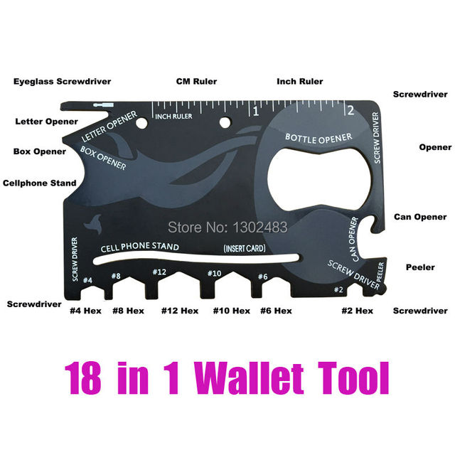 18 in 1 Wallet Credit Card Tactical Pocket Military Survival Camping Rescue Hand Ninja Cazor Finger Monkey SOS Swiss Tools Knife