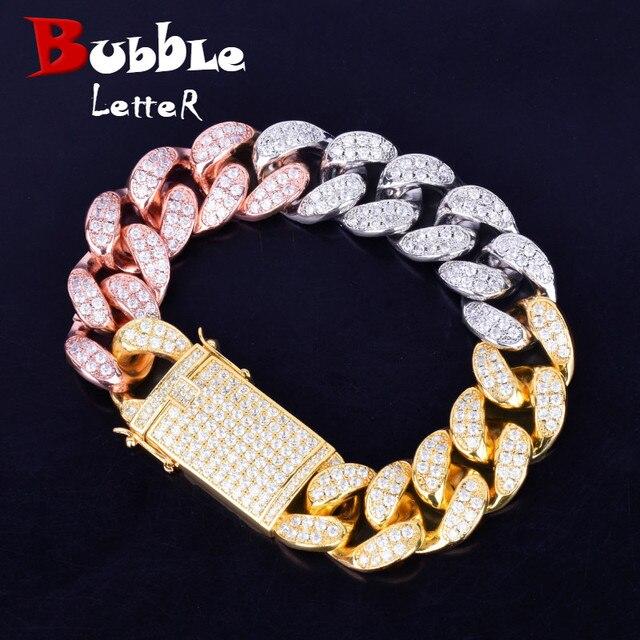 20mm szerokość Chunky Miami kubański bransoletki i łańcuszki na rękę Bling Bling cyrkon mężczyzn Hip hop biżuteria róża w kolorze różowego złota duża bransoletka 18 cm 20 cm