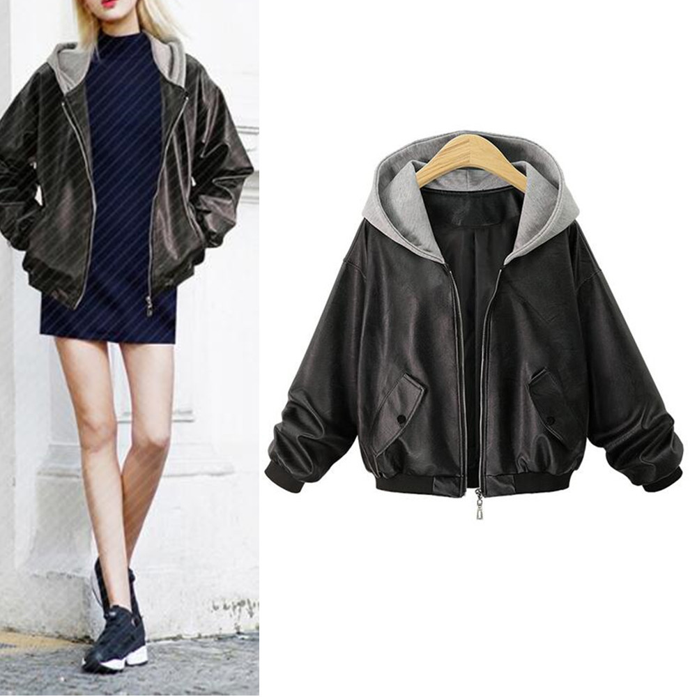 Hodisytian Autumn Hooded Women Faux   Leather   Jacket Bomber Jacket Short Motorcycle Coat Outerwear Cardigan Femme Plus Size 4XL