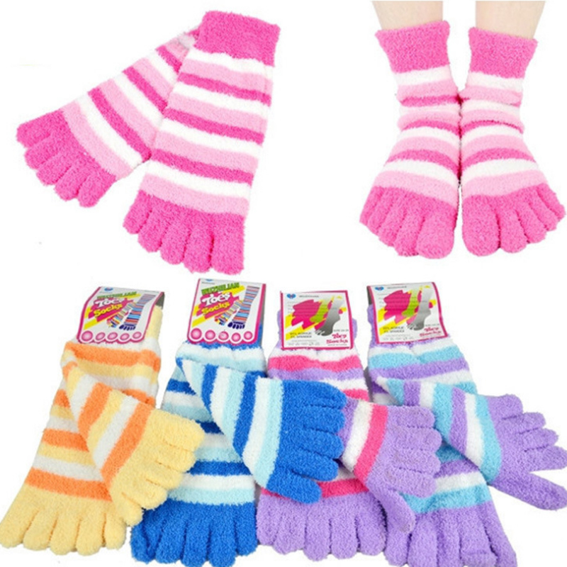 Winter Warm Socks with Toes Women Soft Sock Fuzzy Slippers meias calcetines