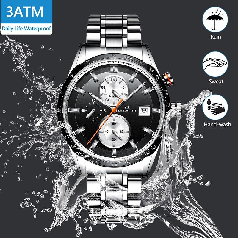 Image 2 - MEGALITH Fashion Chronograp Men's Watch Analog Quartz 24 Hour Date Watches Man Waterproof Men Sport Full Steel Wrist Watch Clock-in Quartz Watches from Watches
