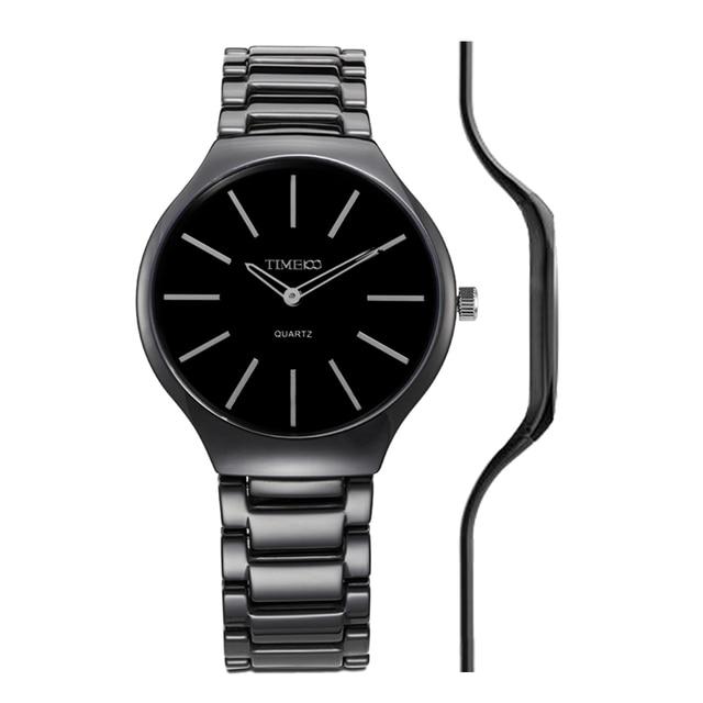 97f654fc6d2 2016 TIME100 Relógios Femininos de Cerâmico Relógio Último Fino 5.5mm Cinta  Preto à Prova de
