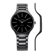 2016 time100 mujeres de cerámica relojes correa de reloj ultra delgado 5.5mm negro damas impermeable reloj de cuarzo relogio feminino reloj