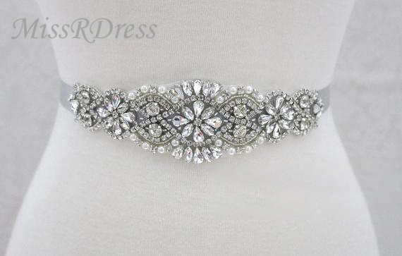 MissRDress Rhinestones Bridal Belt Crystal Pearls Wedding Belt Silver Diamond Bridal Sash For Wedding Accessories Belt JK837