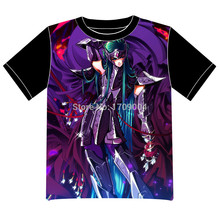 Envío Gratis Saint Seiya Anime manga T-shirt Las Mujeres de Los Hombres Cosplay Camiseta de Malla Negro Tee 005