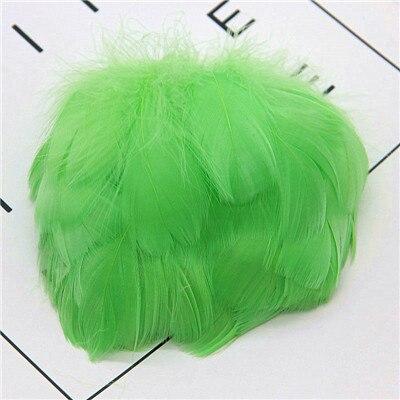 Натуральные перья лебедя 4-7 см 1-2 дюйма маленькие плавающие Шлейфы гусиное перо цветной шлейф для украшения рукоделия 100 шт - Цвет: fruit green 100pcs