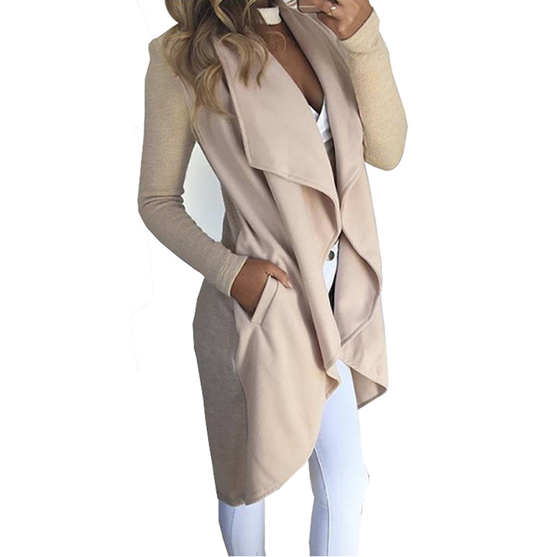 2017 Autumn Winter Asymmetric Length Long Female   Trench   Coat Women Overcoat Cardigan Womens Cotton Windbreakers