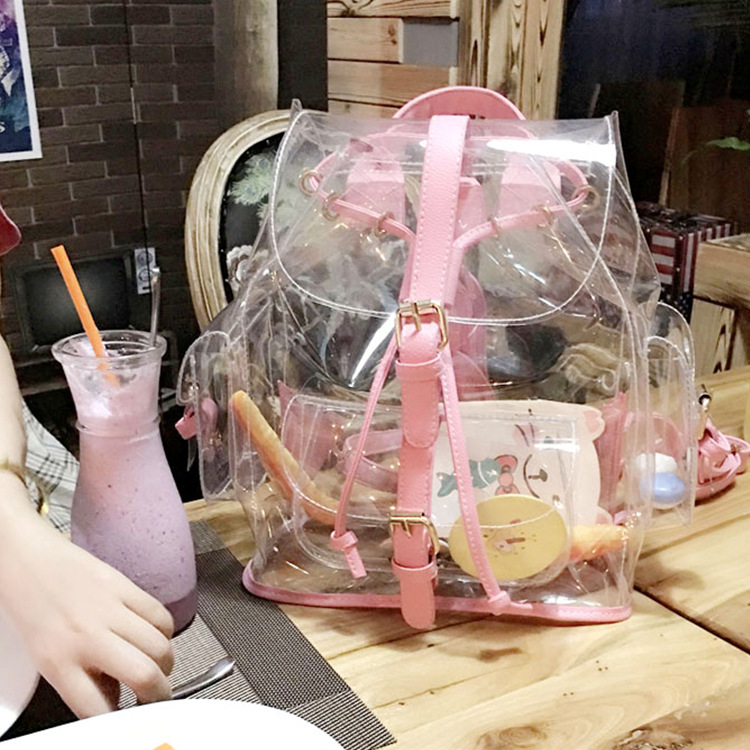 TekiEssica Summer New Transparent Bags Korean Version Casual Female Bag Clear Personalized Backpacks Girl's Mini Shoulder Bag