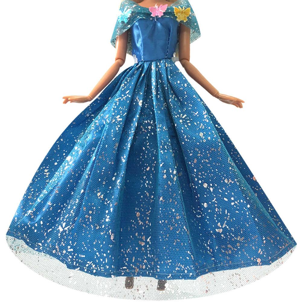 NK Um Conjunto Princesa Boneca Vestido Azul Semelhante do Conto de Fadas Cinderela Vestido de Noiva Vestido de Festa Outfit Para Barbie Doll Melhor presente