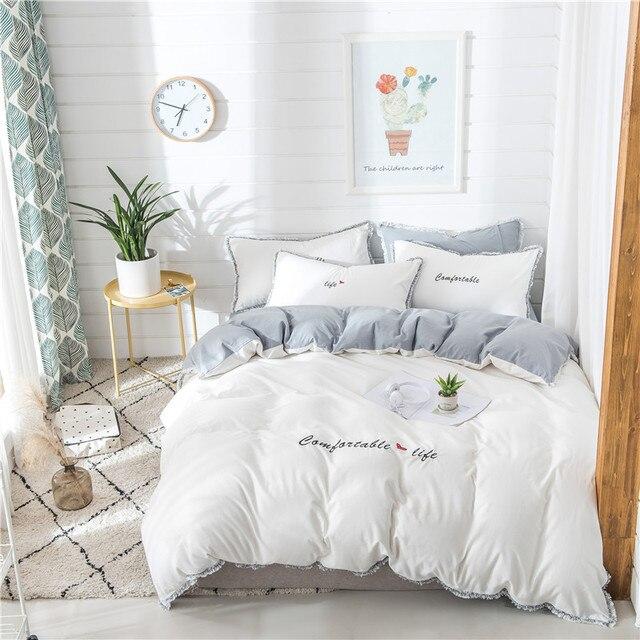 8fa5e86e25 100%Cotton White Grey Cute Girls Bedding Sets Soft Bedclothes King Queen  size Duvet Cover Bed Sheet Linens set Pillowcase