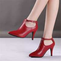 2016 spring and autumn DAPHNE women's deep mouth single shoes women's pointed toe shoes thin heels genuine leather sexy
