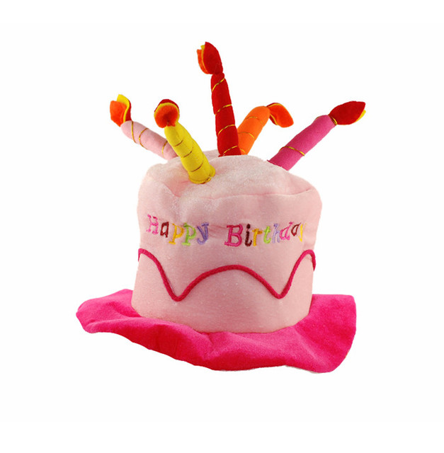 Creative Plush Soft Happy Birthday Cake Hat With Candles Cap Adult Kids Size Fancy Dress Party Event Supplies