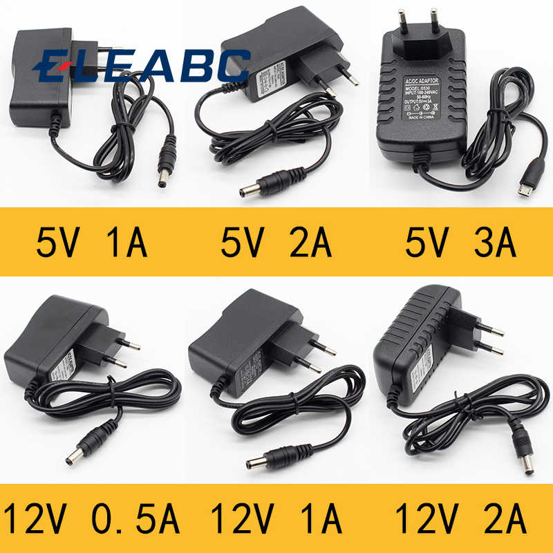 1pcs 100-240V AC to DC Power Adapter Supply Charger adapter 5V 12V 1A 2A 0.5A EU Plug 5.5mm x 2.5mm/5v3aDC Plug Micro USB