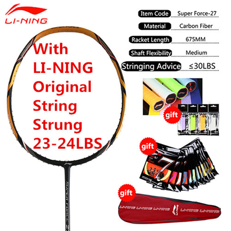 Genuine 1PCS Li-Ning Professional Badminton Rackets Full Carbon High Quailty Li Ning Racquets with String and Overgrips L999OLB li ning professional badminton rackets turbo charging 9ii td offensive lining racquets aypm316 l853ola