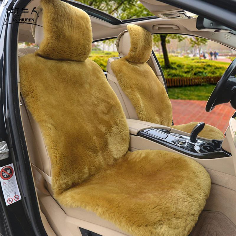 MUNIUREN 100% Australia Wool Car Seat Covers Winter High Quality Whole Piece of Genuine Wool Pad Fur Sheepskin Seat Cushion ogland natural fur comfort authentic fluffy sheepskin car seat cover for soft car seat cushion made of australia wool automobile