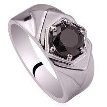 Подлинная Серебряное Кольцо Горячей Продажи 7.5 мм Кубический Цирконий Мужчины Ювелирные Изделия Человек Размер 6 до 13 R515
