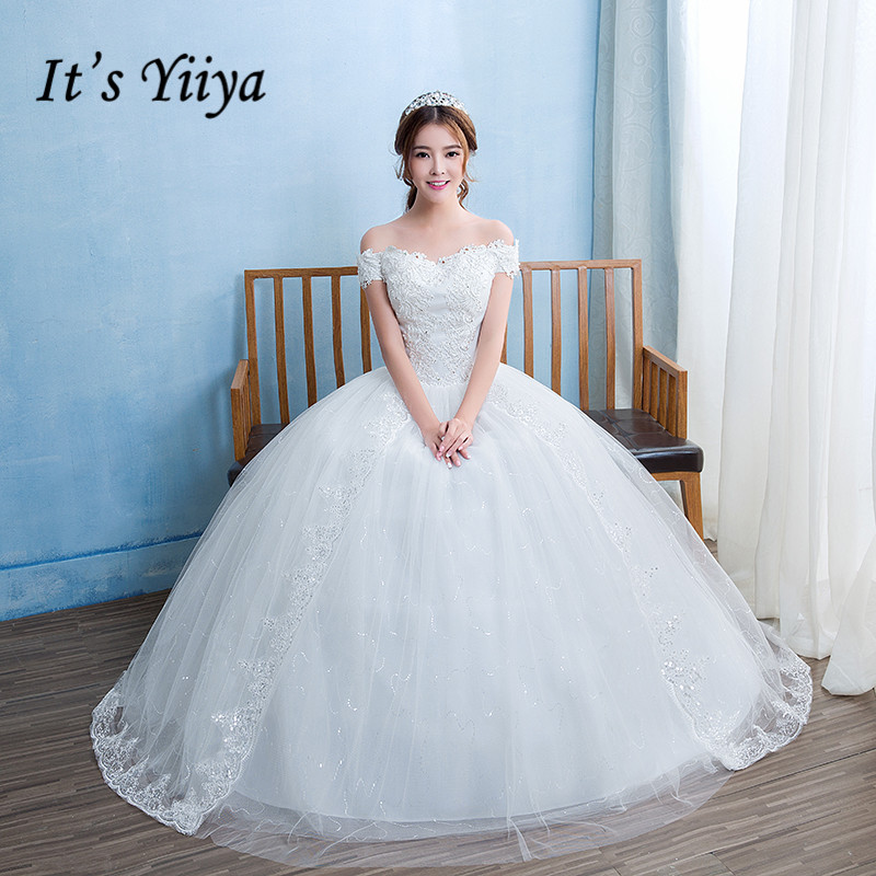 It's YiiYa Wedding Dress Sexy Boat Neck Floor Length Bridal Ball Gowns Appliques Off The Shoulder Lace Up wedding dresses HS236