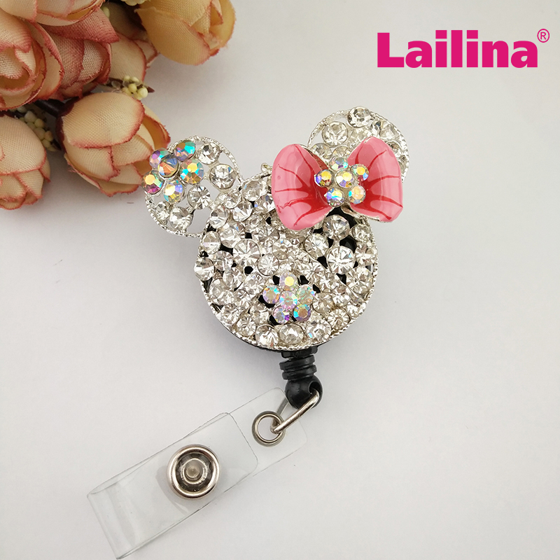 Hot Sale Multicolor Minnie Mouse Head Shape ID Badge Holder Rhinestone Crystal School Student ID Card Badge Holder