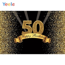 Yeele Happy 50th Birthday Party Photocall Background Gold Flash Woman Man Custom Vinyl Photography Backdrop For Photo Studio