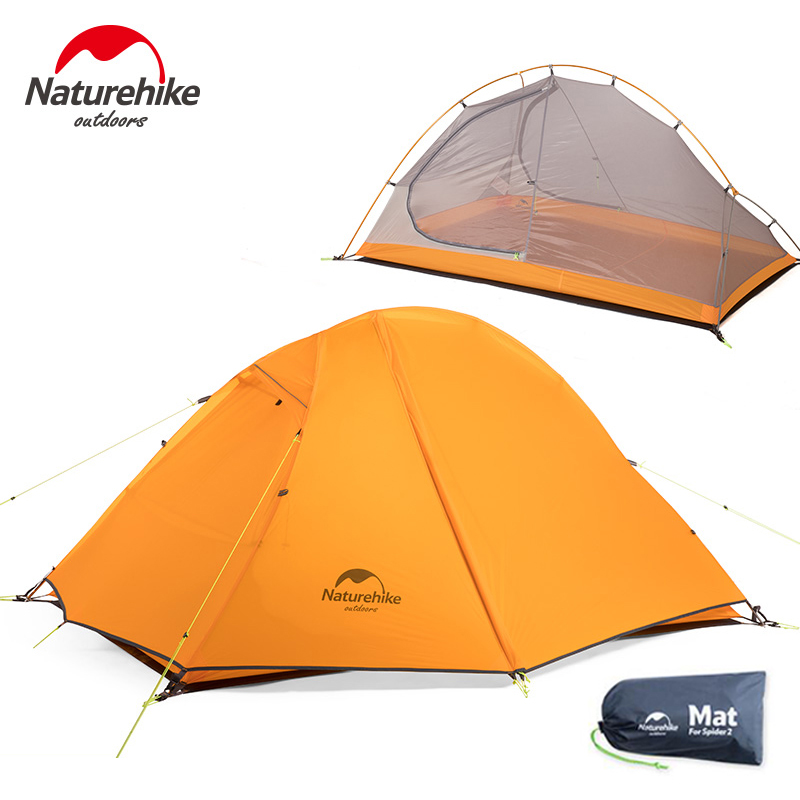 NatureHike 2 Person Tent Ultralight Waterproof 20D Silicone Fabric Double Layers Aluminum Rod Outdoor Camping Tent For Tourism