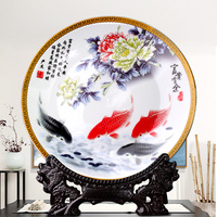 Chinese Ceramic Ornamental Plate Decoration Dish Plate Hanging Plate Great Wall Porcelain Plate Set Wedding Gift