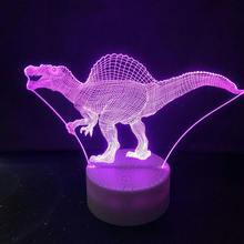 Динозавр 3d настольная лампа детский акриловый светодиодный