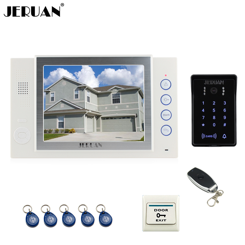 JERUAN wired 8`` video door phone Record intercom system New RFID waterproof Touch Key password keypad camera 8G SD Card Free jeruan 7 lcd video door phone record intercom system 3 monitor new rfid waterproof touch key password keypad camera 8g sd card