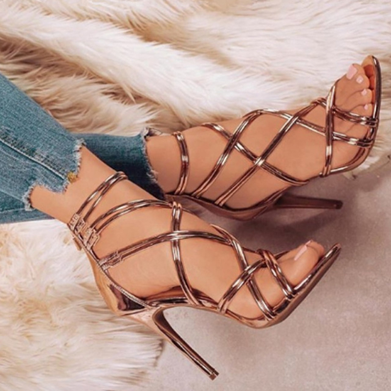 PU Leather Women Sandals For Female Ladies  Spring Summer Thin High Heels Cross Straps Simple Sexy Women Shoes Plus Size 43PU Leather Women Sandals For Female Ladies  Spring Summer Thin High Heels Cross Straps Simple Sexy Women Shoes Plus Size 43