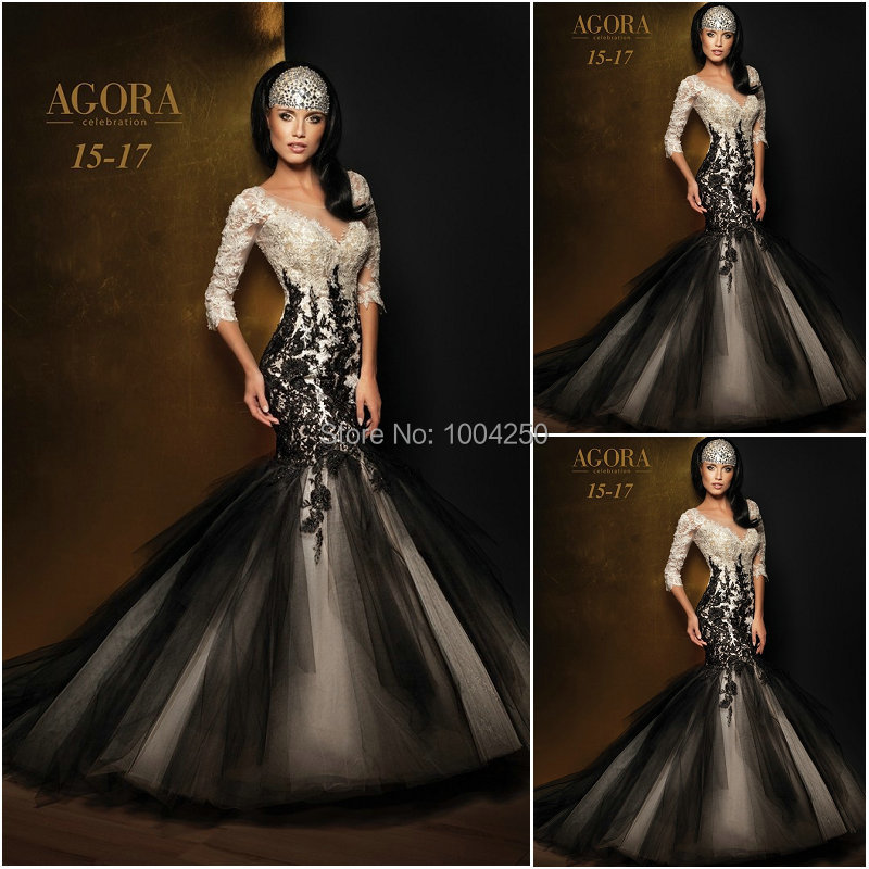 YP072 Fashion Black And White Mermaid Prom Dress 2018 Elegant Long Evening  Dress Sexy Backless With Sleeves Lace Applique Gown d43019d6a