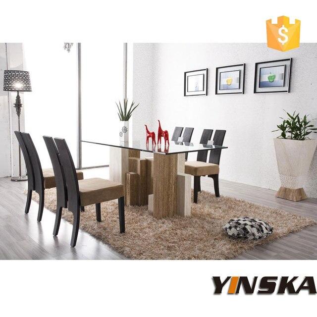 Moderno vetro e marmo travertino tavolo da pranzo disegni tavolo per ...