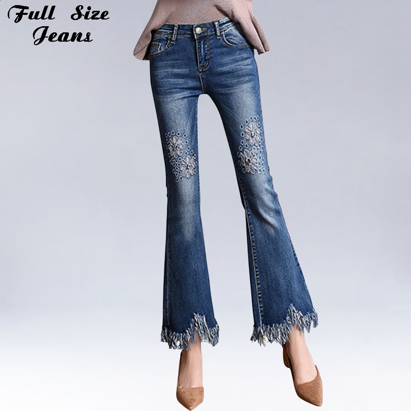Plus Size Hollow Out Floral Ankle Length Flare   Jeans   4Xl 7Xl 6Xl High Waist Tassel Fringe Stretch Skinny Female Denim Pants
