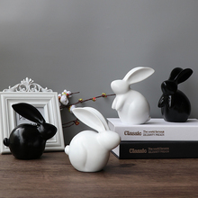 Creative resin rabbit ornaments home decor Furnishing crafts living room creative animal porcelain figurines decoration
