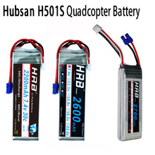 HRB 2S 7.4V Lipo Battery 2200mAh 2600mAh 2700mAh 10C 30C RC Parts EC2 Female Plug Connector For Hubsan H501S H501C Quadcopter(China)