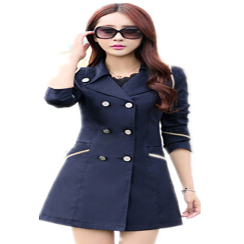 WKOUD Trench Coat For Women Fashion Double Breasted Slim Coa