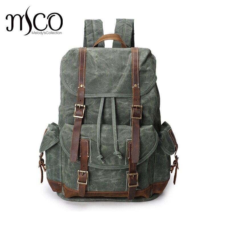 Grande capacité homme huile cirée toile epaules sac à dos imperméable voyage loisirs alpinisme sac à dos vintage sac à bandoulière