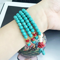 New arrivals high quality bead bracelet round Turquoise 108 beads buddha bracelet for women Jewellery accessories free shipping