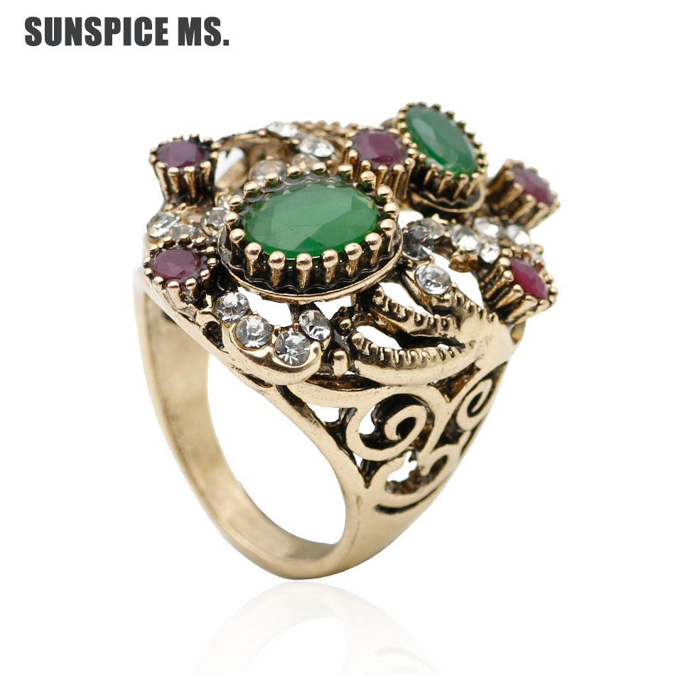 Promotion Turkish Women Vintage Ring Resin Finger Jewelry Antique Color  Ethnic Hollow Flower Bridal Wedding Rings