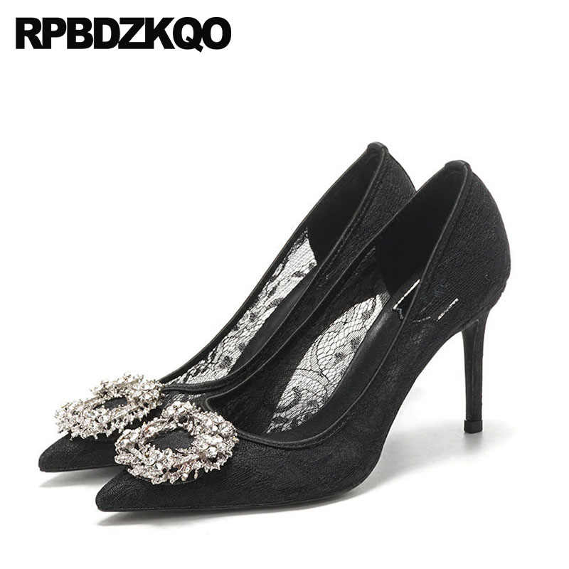 7aa1a4ce76a1 Pumps Ladies Thin New Mesh Bridal Black Lace Crystal Wedding Shoes  Rhinestone Pointed Toe Sexy Prom
