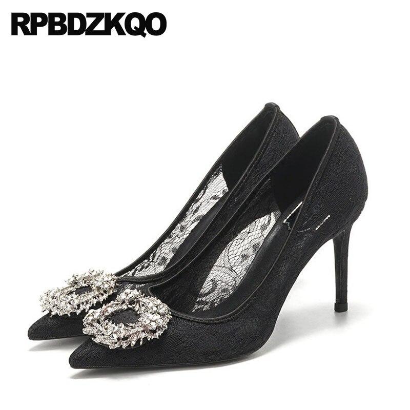 Pompes dames mince nouvelle maille mariée noir dentelle cristal chaussures de mariage strass bout pointu Sexy bal grande taille talons hauts 33 mariée
