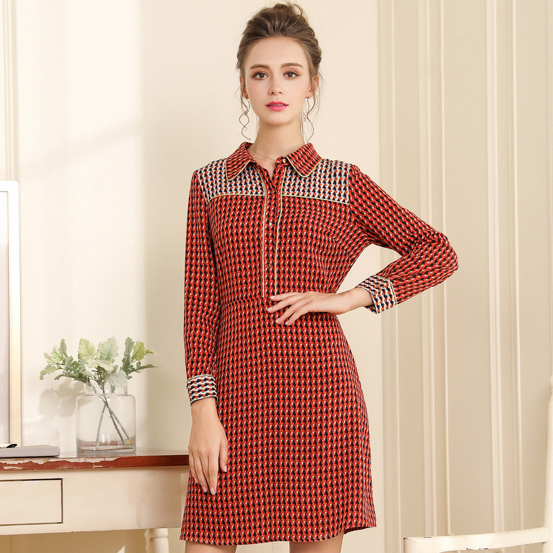 Detail Feedback Questions about OUYALIN L 3XL 4XL 5XL Plus size Dress 2018  Women Long sleeve Autumn Winter geometry Red Elegant Office Shirt Dresses  on ... bac11293526a