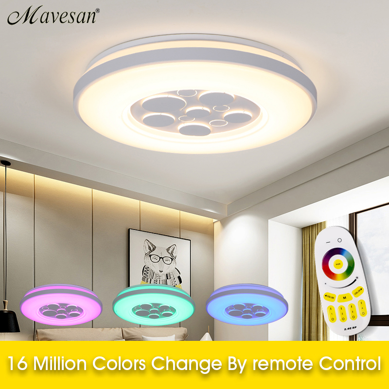 2018 Led Ceiling Lamps for Bedroom Living room remote Modern RGB Ceiling Lights For Living Room light fixtures luminaire design chandeliers lights led lamps e27 bulbs iron ceiling fixtures glass cover american european style for living room bedroom 1031