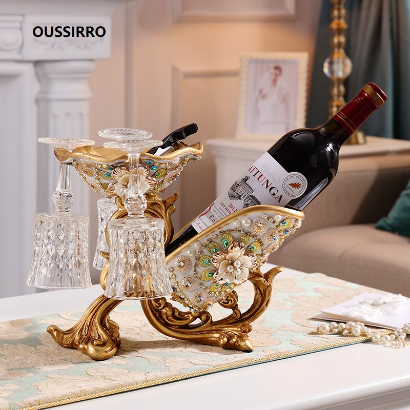 European Red Wine Holder living room luxury wine cabinet decorations High foot wine glass holder household