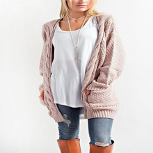 2019 Spring And Autumn New Products Long Paragraph Large Size Solid Color Pocket Sweater Ladies Twist Knit Cardigan