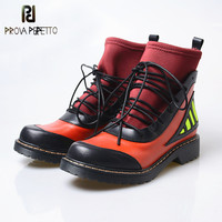 Prova Perfetto 2018 New Autumn And Winter Women Elastic Short Boots Stretch Sock Lace up Ankle Boots Leather Thick Bottom Boots