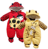 2015 New Jumpsuit Hat Shoes Animal Style Cartoon Warm Hooded Baby Rompers Winter Boys Girls Clothes